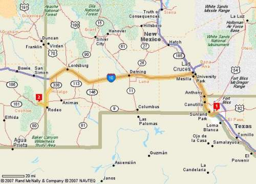 Route from El Paso, texas to Portal Arizona